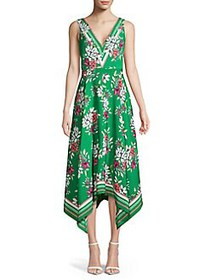 Vince Camuto Floral-Print Handkerchief Dress GREEN