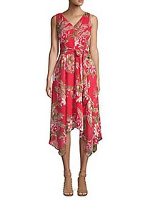 Eliza J Tied Floral V-Neck Handkerchief Dress CORA