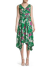 Eliza J Tied Floral V-Neck Handkerchief Dress GREE