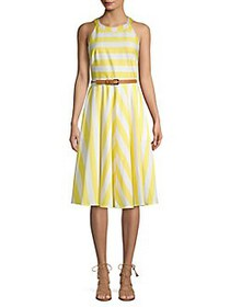 Eliza J Belted Stripe Halter Midi Dress YELLOW