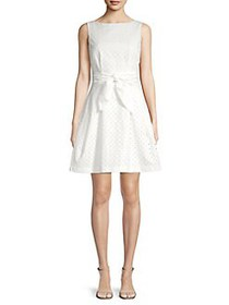 Vince Camuto Eyelet Cotton Fit-&-Flare Dress WHITE