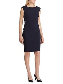 Lauren Ralph Lauren Button-Trim Crepe Dress NAVY