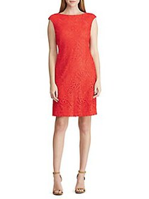 Lauren Ralph Lauren Cap Sleeve Lace Dress RED