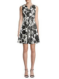Gabby Skye Paneled Floral Splitneck Mini Dress IVO