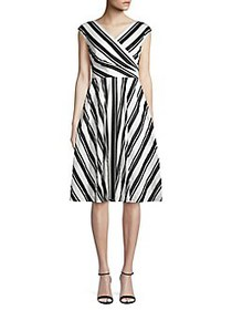 Gabby Skye Stripe Cotton Dress WHITE BLACK