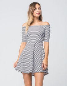 MIMI CHICA Striped Off The Shoulder Dress_
