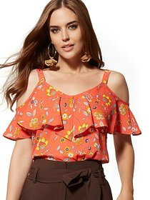Floral Ruffled Cold-Shoulder Blouse - 7th Avenue -