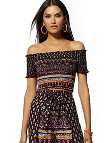 Paisley Smocked Off-The-Shoulder Top - New York &