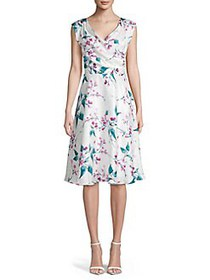 Gabby Skye Floral A-Line Dress CREAM MULTI