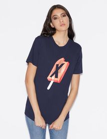 Armani BOY-FIT T-SHIRT WITH CONTRASTING PRINT