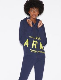 Armani HOODED SWEATSHIRT WITH CONTRASTING LETTERIN