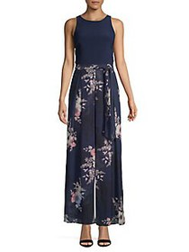 Vince Camuto Floral Wide Leg Jumpuit NAVY