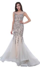 Jadore - J11325 Beaded Tulle Mermaid Dress