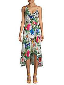 Parker Floral Asymmetric High-Low Dress WHITE MULT