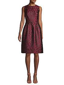 Oscar de la Renta Sleeveless Belted Dress MULBERRY