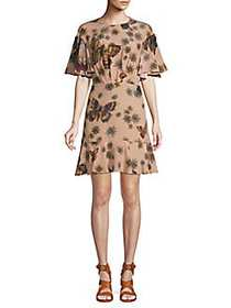 Valentino Printed Silk Mini Dress MARIPOSA