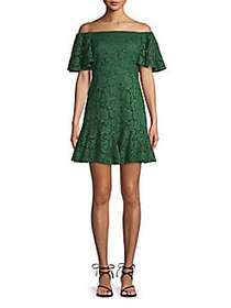 Valentino Floral Lace Cotton Blend Mini Dress JUNG