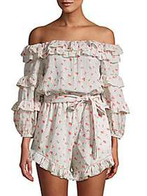 Love Sam Printed Off-The-Shoulder Cotton Romper PO