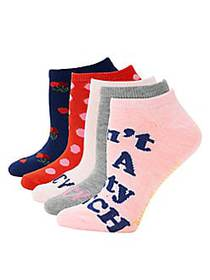 Juicy Couture 5-Pack Graphic Ankle Socks PINK