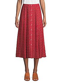 Max Studio Printed A-Line Skirt RED