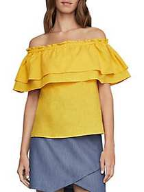 BCBGMAXAZRIA Off-The-Shoulder Cotton and Linen Flo
