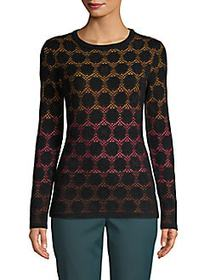 M Missoni Textured Ombre Knit Pullover BLACK