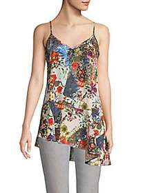 Nicole Miller Floral Asymmetrical Camisole WHITE M