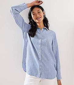 Embroidered Dot Striped Button Down Shirt