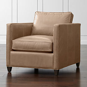 Crate Barrel Dryden Leather Chair