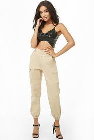 Forever21 Faux Leather Bow Cropped Cami