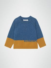 Burberry Logo Intarsia Cashmere Sweater in Dusty B