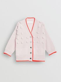 Burberry Contrast Knit Wool Cashmere Cardigan in P