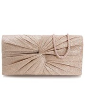 D'MARGEAUX Glitter Fabric Ruched Knot Clutch