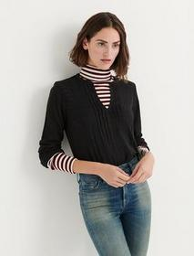 Lucky Brand Solid Woven Drop Needle Peasant
