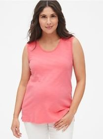 Maternity Lace-Trim Tank Top in Slub Jersey