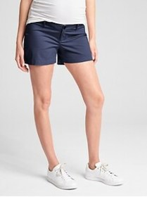 Maternity Inset Panel Summer Shorts in Stretch Twi