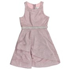 RARE EDITIONS Girls Shimmery Dress with Asymmetric