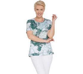 """As Is"" Quacker Factory Short- Sleeve Floral Print"