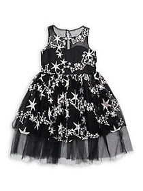 Iris & Ivy Girl's Star Embroidered Illusion Dress