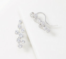 Diamonique Round Bezel Set Ear Climbers, Sterling