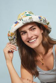 Anthropologie Floral Bucket Hat