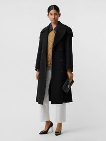 Burberry Wool Cashmere Double-breasted Coat in Bla
