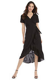 The Limited Short Sleeve Surplice Ruffle Dress