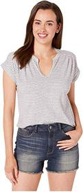 Lucky Brand Stripe Notch Neck Top