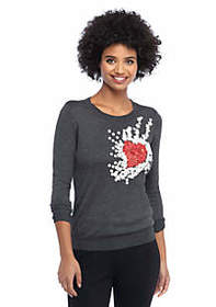 The Limited Heart Applique Pullover