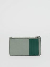 Burberry Two-tone Leather Card Case in Grey Blue