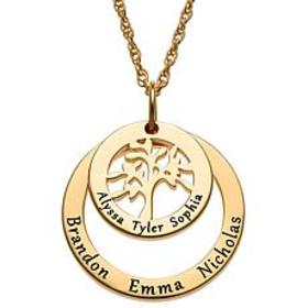 Sterling Silver Engraved Name Family Tree Necklace