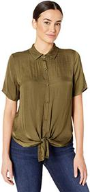 Vince Camuto Short Sleeve Tie Front Button Down Ru