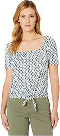 Lucky Brand Super Soft Printed Tie Front Top