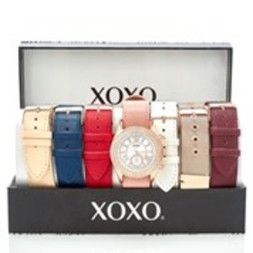 XOXO Womens Crystal Mesh & Faux Leather Watch 7-Pi